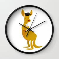 college Wall Clocks featuring College Kangaroo by ericbennettart