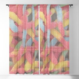 Sour Gummy Worms Sheer Curtain