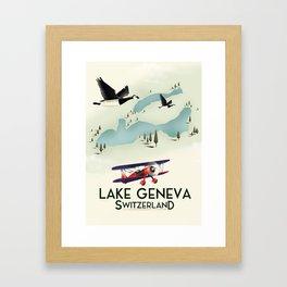 lake geneva, Switzerland, travel poster print art. Framed Art Print