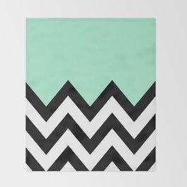 MINT GREEN COLORBLOCK CHEVRON Throw Blanket