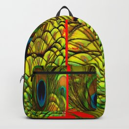 ART DECO RED GOLDEN-GREEN PEACOCK  PATTERN Backpack