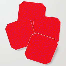 Scattered Hand-Drawn Bright Hot Pink Painted Hearts Pattern on Bright Red Coaster