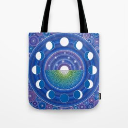 Moon Phase Mandala Tote Bag