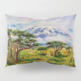 Mount Kilimanjaro Tanzania.  Oil on Canvas Art by Sher Nasser. Pillow Sham