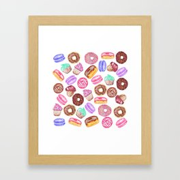 Yummy Hand Painted Watercolor Desserts Framed Art Print