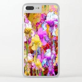 MIXED IRIS FLORAL AVOCADO ART DESIGN Clear iPhone Case