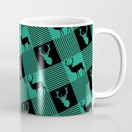 Hunters Green Wild Stag Buffalo Plaid Coffee Mug