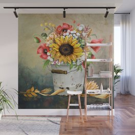 Farm Sunflowers in a Rustic Bucket Wall Mural