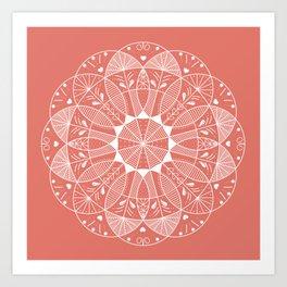 Living Coral Mandala-Pantone Color of the Year 2019 Art Print