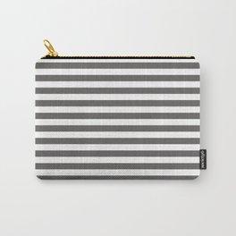 Pantone Pewter Gray & White Uniform Stripes Fat Horizontal Line Pattern Carry-All Pouch