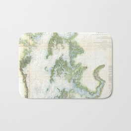 Vintage Map of The Chesapeake Bay (1857) Bath Mat