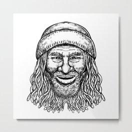 Rastafarian Dude Tattoo Grayscale Metal Print