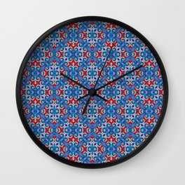 Patriotic Curly Diamonds Wall Clock