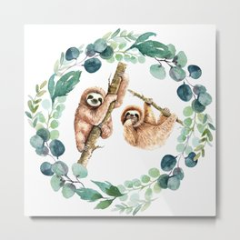 Elegant Tropical Watercolor Eucalyptus Wreath Cute Slots Metal Print