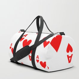 LOTS OF DECORATIVE  RED  ACES & HEARTS PLAYING CARDS CASINO ART Duffle Bag