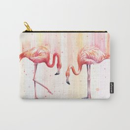 Two Flamingos Watercolor Tropical Birds Animals Carry-All Pouch