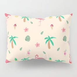 Cute Watercolor Pink Flamingos and Palm Trees Pillow Sham