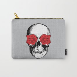 Skull and Roses | Grey and Red Carry-All Pouch