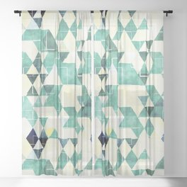 Abstract Green Triangles, Watercolor Pattern Sheer Curtain