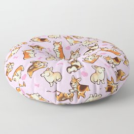Lovey corgis in pink Floor Pillow