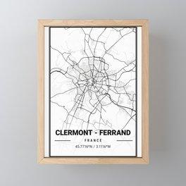 Clermont - Ferrand Light City Map Framed Mini Art Print