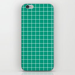 Paolo Veronese green - green color - White Lines Grid Pattern iPhone Skin