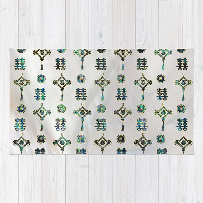 Gold And Abalone Shell Lucky Chinese Symbols Pattern Rug By