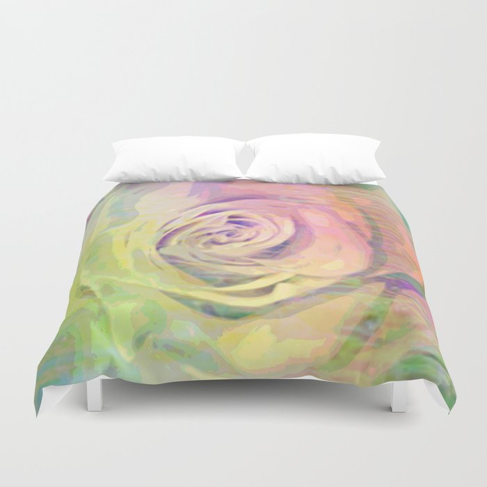 Painterly Pastel Rose Abstract Duvet Cover