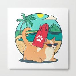 Cat on the beach Metal Print