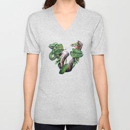 Emerald Tree Boa and Tree Frog Unisex V-Neck