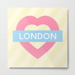 London Pastel Heart Metal Print