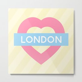 London Pastel Heart Metal Print
