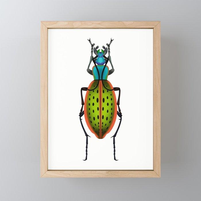 Green Dot Beetle Framed Mini Art Print