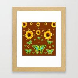 COFFEE BROWN SUNFLOWERS & GREEN MOTHS Framed Art Print
