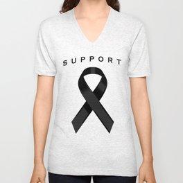 Black Awareness Ribbon Unisex V-Neck