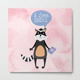 Woodland Creatures: Raccoon Loves Books Metal Print