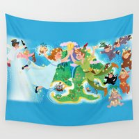 peter pan Wall Tapestries featuring Neverland wall painting by princessbeautycase