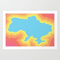 ukraine Art Prints featuring Ukraine by Tasha-Nova