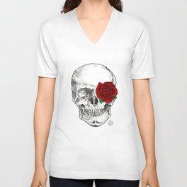 Rose Skull Unisex V-Neck