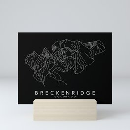 BRECKENRIDGE B&W // Colorado Trail Map White on Black Runs Minimalist Ski & Snowboard Illustration Mini Art Print