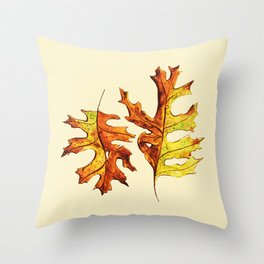 Ink And Watercolor Painted Dancing Autumn Leaves Throw Pillow