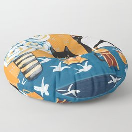 Orange and Blue French Press Cats Floor Pillow