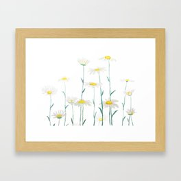 white daisy watercolor horizontal Framed Art Print