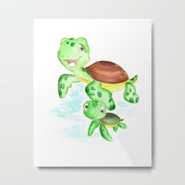 turtle baby and mom, nautical wall decor, ocean themed nursery, sea turtle, sea animals watercolor Metal Print