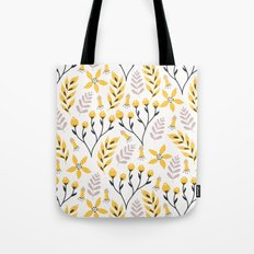 Mod Floral Yellow Gray Tote Bag