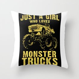 Just a GIRL who Loves MONSTER TRUCKS awesome black and yellow distressed style  Throw Pillow