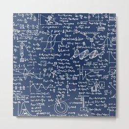 Physics Equations // Navy Metal Print