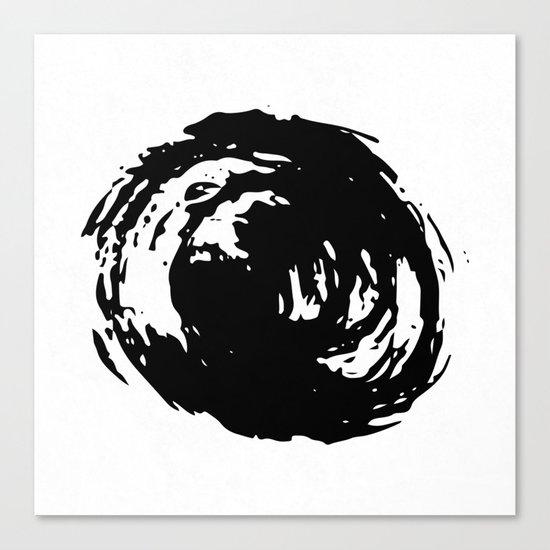 Whorl Black on White Canvas Print