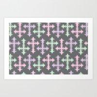 pastel goth Art Prints featuring Pastel Goth   Grey by Glitterati Grunge