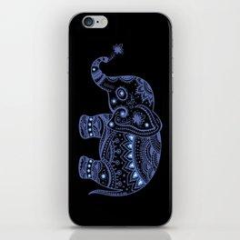 Blue Tones Faux Glitter Cute Elephant iPhone Skin